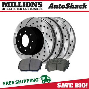 Front Rear Drilled Slotted Brake Rotors Ceramic Pads Kit For 94 96 Acura Integra