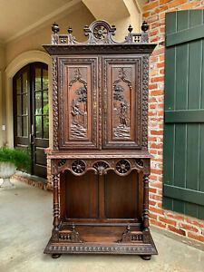 Antique French Carved Chestnut Oak Breton Brittany Cabinet Bookcase Bar C1880
