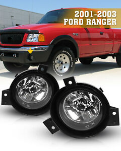 Fog Lights For 01 03 Ford Ranger Black Clear Lens Driving Front Driver Lamp Pair