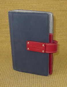 Personal compact 1 Rings Red Leather Blue Canvas Kate Spade Planner binder