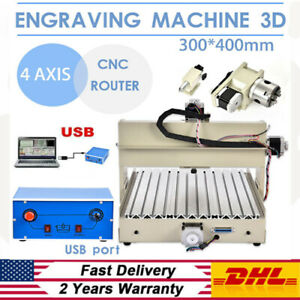 4 Axis Usb 3040 Router Engraving Drilling Mill Machine 3d Wood Pcb Cutter
