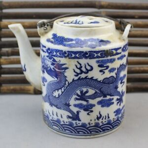 Chinese Old Porcelain Blue And White Dragon Pattern Teapot
