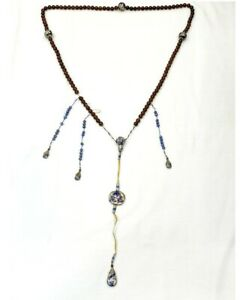 Old Chinese Mandarin Court Peking Glass Bead Necklace 60 Inch Long