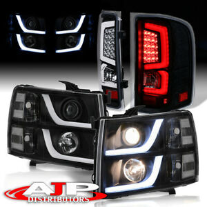 Black Housing Led Drl Headlights Led Driving Tail Lights For 2007 2013 Silverado