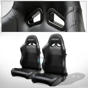 For Bmw Buick Sp Black Pvc Leather Stitch Reclinable Racing Seats Slider Pair