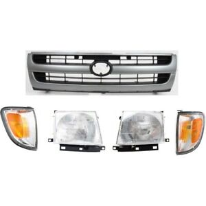 Grille Assembly Kit For 97 2000 Toyota Tacoma Rwd 2wd 5pc