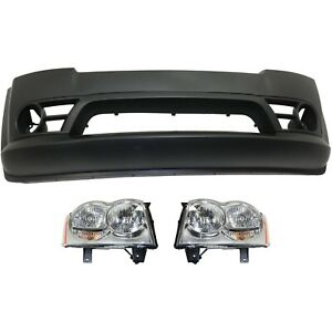 Bumper Cover Kit For Grand Cherokee Front Sport Utility 3pc With Headlight