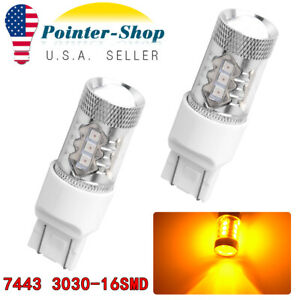 2x Amber Yellow 7443 7440 3030 Non Polarity Led Turn Signal Parking Light Bulbs