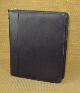 Classic 2 Rings Black Top grain Leather Franklin Covey Zip Planner binder Usa
