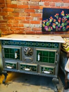 Vintage 19th Century Tile Coal Or Wood Burning Cook Stove