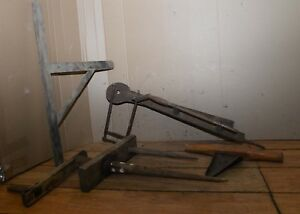 4 Primitive Farm Tools Scroll Saw Scoop Wool Spool Winder Early Collectible Lot