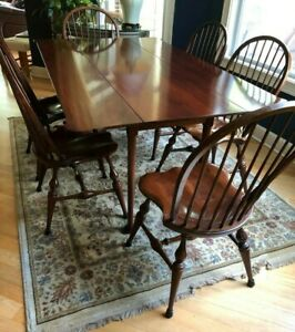 Queen Anne Cherry Harvest Table Six 6 Contemporary Hoop Back Windsor Chairs