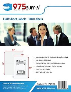 975 Supply Shipping Labels Half Sheet 5 5 X 8 5 Inches 200 Labels pack