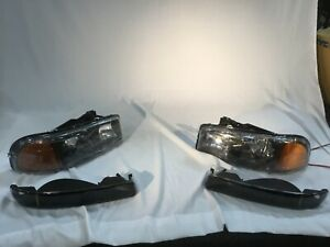 Gmc Sierra 2500 Hd 2001 2002 Black Euro Headlights With Bumper Lights