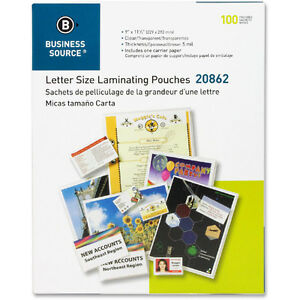 300 Premium Laminating Pouches 9 X 11 5 Inches 5 Mil Business Source 20862