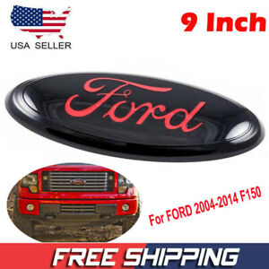 9 Black Red Emblem For Ford 04 14 F150 Front Grille Tailgate Oval Decal Badge