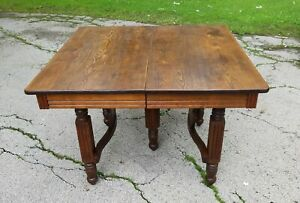 Antique Square Oak Extension Dining Table W 8 Matching Leaves Extends To 127