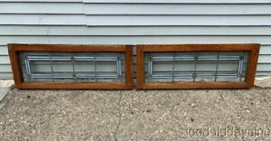 2 Of 3 Antique Arts Crafts Stained Leaded Glass Transom Windows 36 X 14