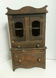 Antique Primitive Child S Kitchen Cupboard 17 Tall Made From Crates And Cheese