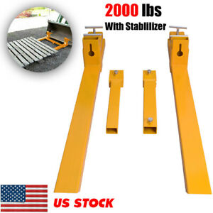 2000lbs 43 Steel Pallet Extensions Forklift Lift Clamp On Pallet Forks Tractor