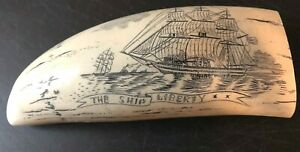 Ship Liberty Fine Details Historic Sperm Whale Tooth Scrimshaw Replica
