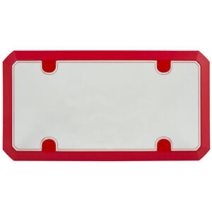Red License Plate Tag Frame Clear Shield Protector Combo Set For Car truck