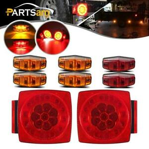 2xred Sq Stop Turn Tail Halo Lights 6xred amber Surface Mount 2 Led Side Marker