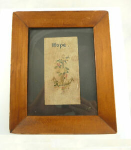 Antique Victorian Punch Paper Perforated Needlework Framed Hope Anchor