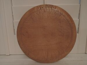 Vintage English Carved Wood Round Cutting Bread Board Wooden Kitchen Primitive