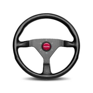 Momo Steering Wheel Monte Carlo Black Leather With Red Stitching 350mm Us Dealer