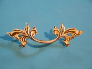 Vintage French Provincial Drawer Pull Handle Antique Gold Solid Brass