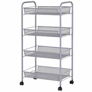 Rolling File Utility Cart 4 Tier Mesh Home Office Kitchen Storage Basket Sliver