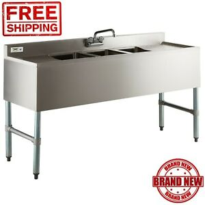 3 compartment Stainless Steel Commercial Under Bar Sink 60 With 2 Drainboards