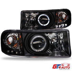 Led Halo Black Projector Headlights Pair For 1994 2001 Dodge Ram 1500 2500 3500