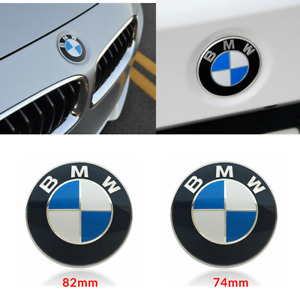 Car Emblem Chrome Hood Badge Logo Set 74mm 82mm For Bmw 528i 535i 740i 750i X4