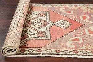 2 X3 Muted Vintage Tribal Turkish Oriental Area Rug Coral Hand Knotted Wool