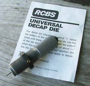 RCBS Universal Decapping Die 87580 Small Size Down to 20 Caliber