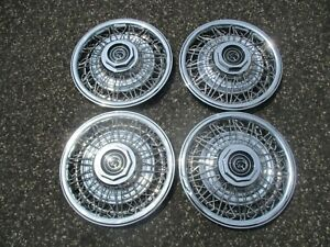 Factory 1980 To 1988 Mercury Cougar 14 Inch Wire Spoke Hubcaps Wheel Covers