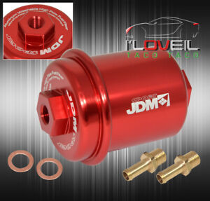 Universal Performance Jdm Racing High Flow Fuel Filter Upgrade Red