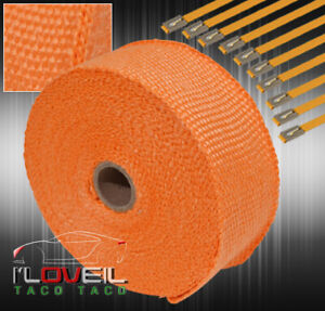 10m Fiberglass Intake Exhaust Thermal Heat Wrap Tape High Temp Cloth Roll Orange