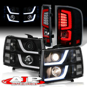 Black Housing Led Drl Headlights Led Red Tail Lights For 2007 2013 Silverado