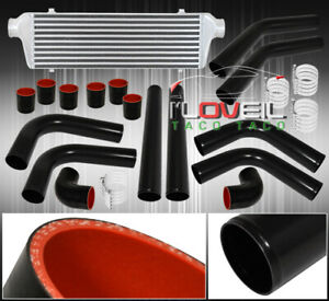 Bar And Plate Fmic Intercooler 8pc Diy Turbo Piping Pipe Kit Black Couplers