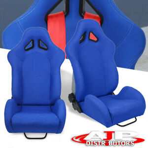 For Chevy Diy Racing Off Road Bucket Seat Reclinable Chair Blue Slider Rail