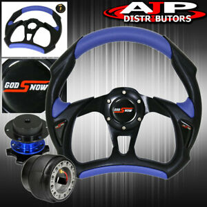 Pvc 320mm Leather Steering Wheel Blue Quick Release Adapter For 94 01 Integra