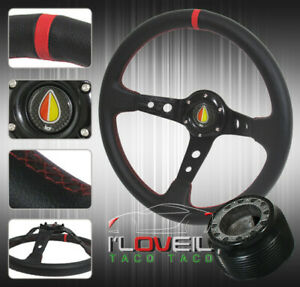 For 88 91 Civic crx 90 93 Acura Integra Black red 350mm Leather Steering Wheel