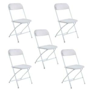White Plastic Lot 10 Folding Chairs Stackable Wedding Party Outdoor Event New