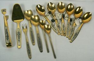 Vintage Soviet Russia Ussr 875 Silver Spoons Gold Layered Set 325 Grams