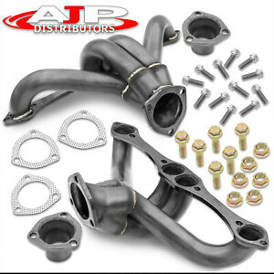 Black Exhaust Header Manifold Racing Set For Chevy pontiac buick 283 400 Engines