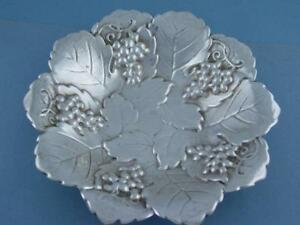Sterling Poole 6 1 4 Candy Dish Ornate Grape Leaf Pattern Art Nouveau Style