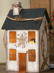 Country Primitive Whitewash Saltbox House Lamp Light Tin Star Grapevine Berry